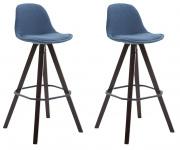 2 ks / set barová židle Franklin látkový potah, podnož hranatá cappuccino (buk), modrá