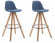 2 ks / set barová židle Franklin látkový potah, podnož hranatá přírodní (buk), modrá