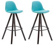 2 ks / set barová židle Franklin syntetická kůže, podnož hranatá cappuccino, modrá