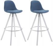 2 ks / set barová židle Franklin látkový potah, podnož kulatá bílá (buk), modrá