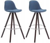 2 ks / set barová židle Franklin látkový potah, podnož kulatá cappuccino (buk), modrá