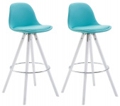 2 ks / set barová židle Franklin syntetická kůže, podnož kulatá bílá (buk), modrá