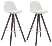 2 ks / set barová židle Franklin syntetická kůže, podnož kulatá cappuccino (buk), bílá