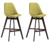 2 ks / set barová židle Cannes látkový potah, cappuccino, zelená