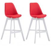 2 ks / set barová židle Cannes látkový potah, bílá, červená