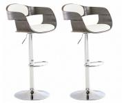 2 ks / set barová židle Kingston syntetická kůže, bílá/šedá