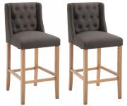 2 ks / set barová židle Cassandra látkový potah, antik-světlá, tmavě šedá