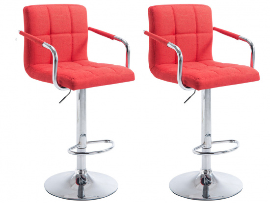 2 ks / set barová židle Lucy V2 látkový potah, světle červená
