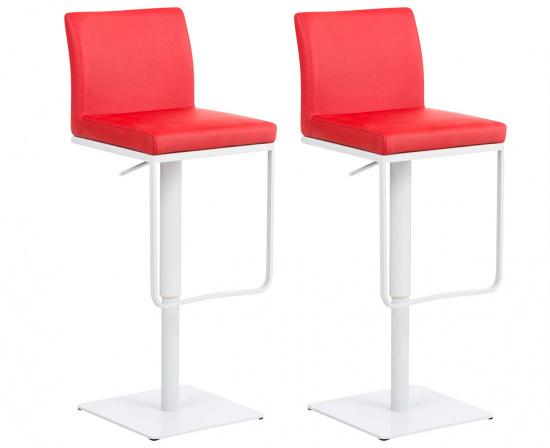 2 ks / set barová židle Winnie, syntetická kůže, červená