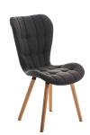Židle Enamo látkový potah, přírodní podnož, tmavě šedá