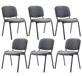 6 ks / set jídelní / konferenční židle Kenna látkový potah, šedá