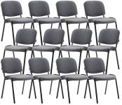 12 ks / set jídelní / konferenční židle Kenna látkový potah, šedá