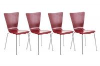 4 ks / set jídelní / konferenční židle Anaron, červená