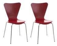 2 ks / set jídelní / konferenční židle Mendy, červená