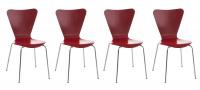 4 ks / set jídelní / konferenční židle Mendy, červená