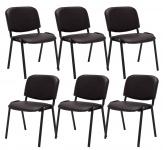 6 ks / set jídelní / konferenční židle Kenna syntetická kůže, hnědá