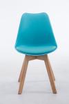 Jídelní / konferenční židle Borna V2 syntetická kůže, přírodní podnož, modrá