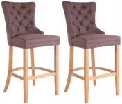 2 ks / set barová židle Taipeh látkový potah, antik-světlá, hnědá