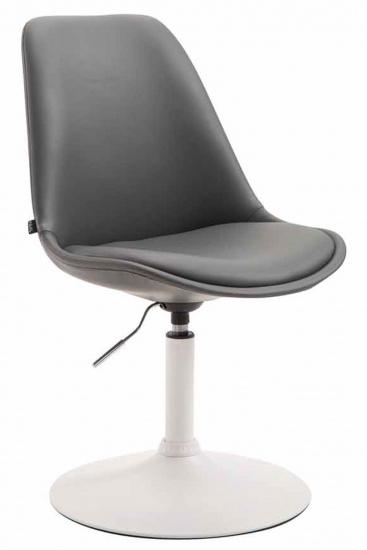 Jídelní / konferenční židle Lona otočná podnož bílá / syntetická kůže, šedá