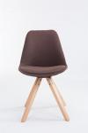 Jídelní / konferenční židle Tomse látkový potah, podnož hranatá přírodní podnož (dub), hnědá