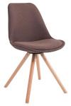 Jídelní / konferenční židle Tomse látkový potah, podnož kulatá přírodní podnož (dub), hnědá