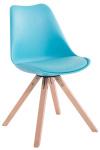 Jídelní / konferenční židle Tomse syntetická kůže, podnož hranatá přírodní podnož (dub), modrá