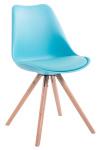 Jídelní / konferenční židle Tomse syntetická kůže, podnož kulatá přírodní podnož (dub), modrá