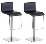 2 ks / set barová židle Limon syntetická kůže, nerez, černá