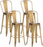 4 ks / set barová židle Factory, zlatá