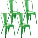 4 ks / set Židle Factory, zelená