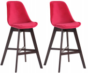 2 ks / set barová židle Cannes samet cappuccino, červená