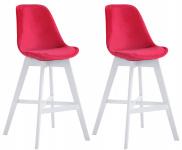 2 ks / set barová židle Cannes samet bílá, červená
