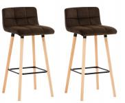 2 ks / set barová židle Lincoln samet, hnědá