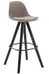 Barová židle Franklin látkový potah, podnož hranatá černá, taupe