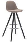 Barová židle Franklin látkový potah, podnož kulatá černá, taupe
