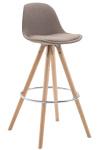 Barová židle Franklin látkový potah, podnož kulatá přírodní, taupe