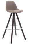 Barová židle Franklin látkový potah, podnož kulatá cappuccino, taupe