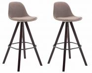 2 ks / set barová židle Franklin látkový potah, podnož hranatá cappuccino, taupe