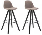 2 ks / set barová židle Franklin látkový potah, podnož hranatá černá, taupe