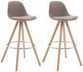 2 ks / set barová židle Franklin látkový potah, kulatý přírodní, taupe