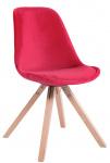 Jídelní / konferenční židle Tomse samet podnož hranatá přírodní podnož (dub), červená