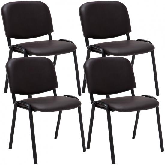 4 ks / set jídelní / konferenční židle Kenna syntetická kůže, hnědá