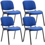 4 ks / set jídelní / konferenční židle Kenna látkový potah, modrá