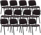 12 ks / set jídelní / konferenční židle Kenna syntetická kůže, hnědá