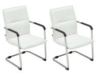 2 ks / set jídelní / konferenční židle Somfy, bílá