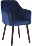 Jídelní / konferenční židle Samson samet podnož ořech (dub), modrá